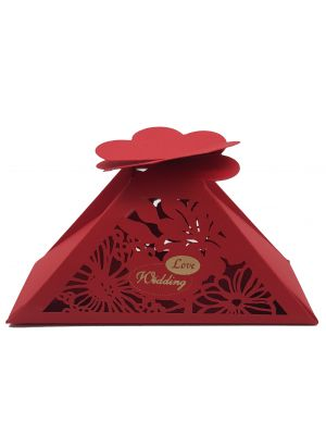 LC 009 Red Laser Cut Favour Box