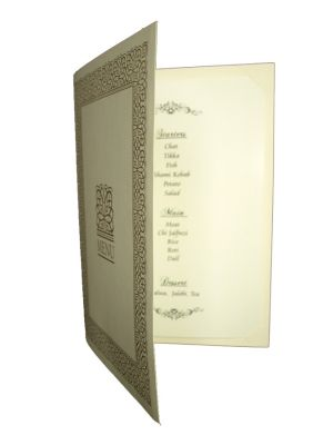 ABC 497 Cream and Gold border party table menu