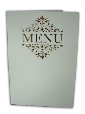ABC 531 Floral gold letterpressed designed menu on white card
