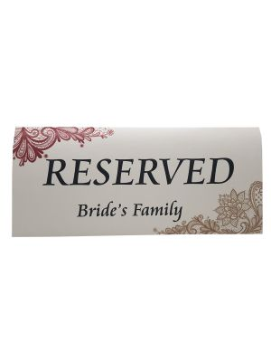 Table Decor Reserved Card Bride's Family 101