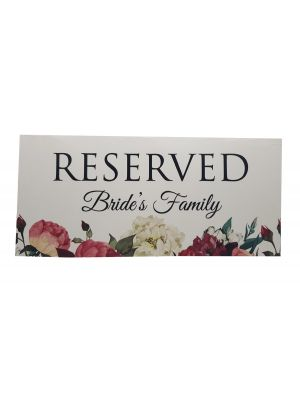 Table Setting Reserved Card Bride's Family 102