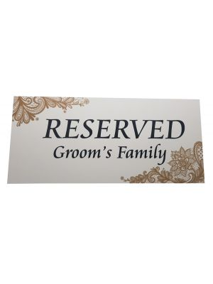 Table Reserved Card Groom's Family 101