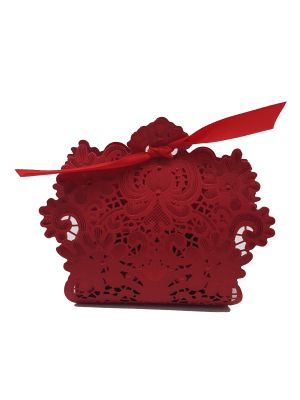 LC 001 Red Laser Cut Favour Box