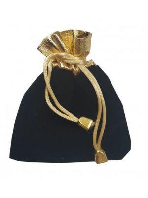 Black and gold velvet favour bag