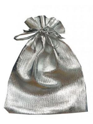 Shiny silver favour bag